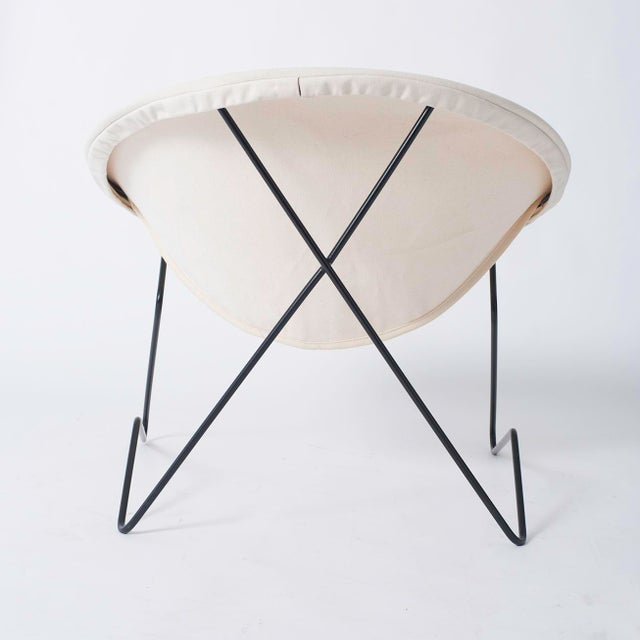 White Single Cantilevered Modernist Hoop Chair with Canvas Cover For Sale - Image 8 of 10
