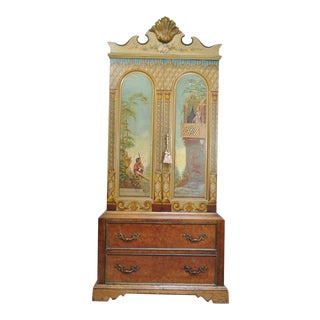 Antique Hand Painted Romeo & Juliet Renaissance Romance Armoire For Sale