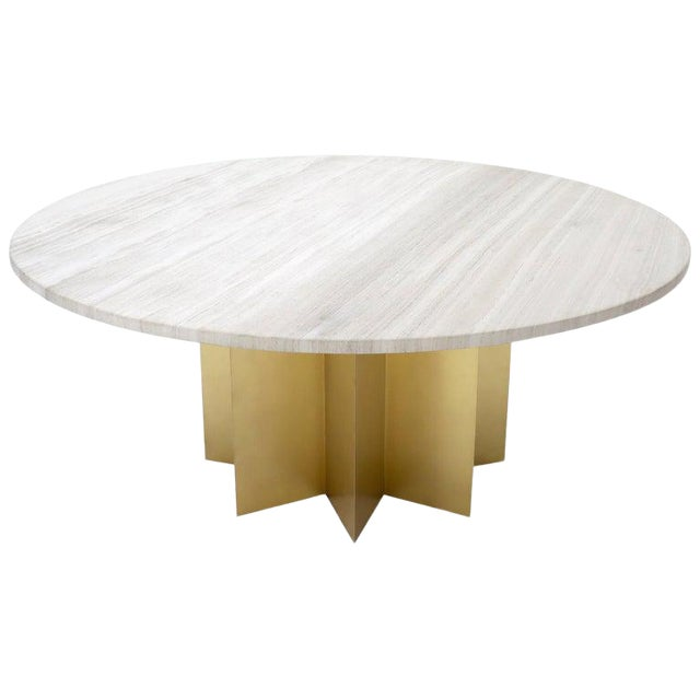 """72"""" Diameter 1"""" Travertine Marble-Top Round Dining Conference Table Star Base For Sale"""
