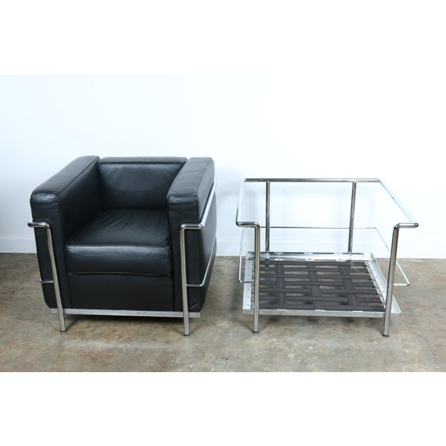 Le Corbusier Style Black Leather Club Chairs - A Pair For Sale - Image 11 of 11