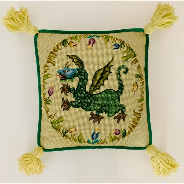 Vintage Ca 1950s Winged Dragon Floral Boxed Needlepoint Pillow With Tassels For Sale - Image 11 of 11