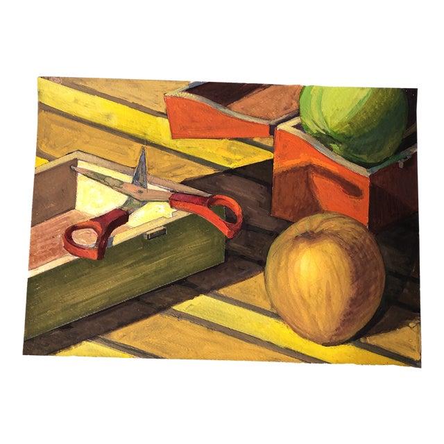 Vintage Original Gouache Still Life Painting Scissors & Fruit For Sale