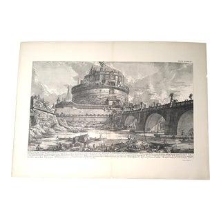 """Antique Architectural Lithograph After Piranesi, """"Veduta Del Ponte, E Del Mausoleo"""" For Sale"""