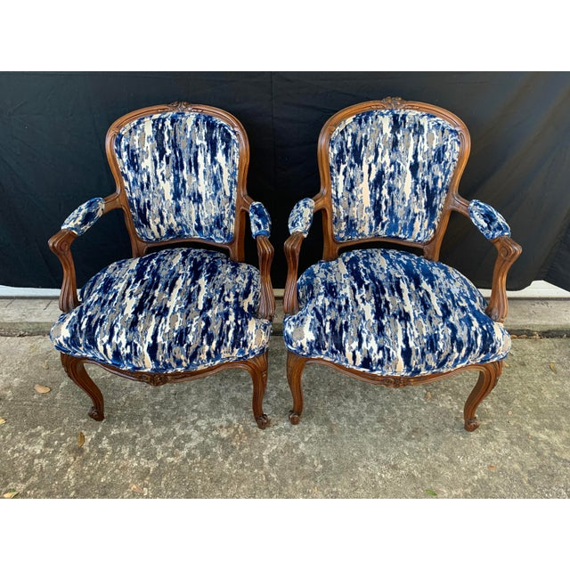 Early 20th Century Antique French Carved Bergere Chairs-Pair For Sale - Image 5 of 13