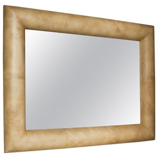 Large 1970s Half Round Goatskin Frame Mirror For Sale
