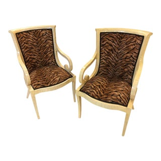 Enrique Garcel Off White Bone Arm Chairs - a Pair For Sale