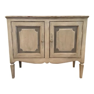 Antique French Country Gray Painted Door Chest/Cabinet For Sale