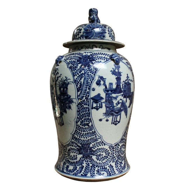 2010s Chinese Blue & White Flowers Vases Theme Porcelain Large General Jar For Sale - Image 5 of 8