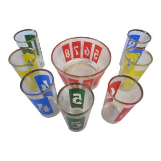 1960s Mid Century Numbered Bar Glasses and Ice Bucket - Set of 8 For Sale