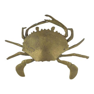 Midcentury Brass Crab Ashtray For Sale