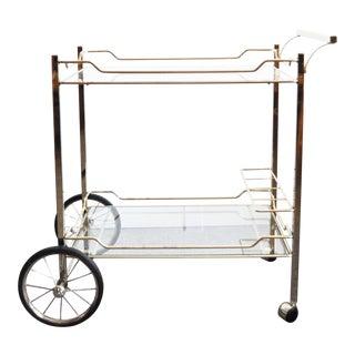 1960s Hollywood Regency Brass Rolling Bar Cart