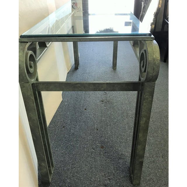 Metal Neoclassical Iron Scroll Console Table in a Verdigris Finish For Sale - Image 7 of 12