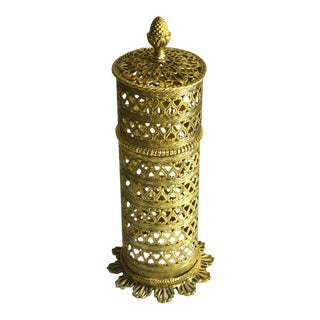 1950s Hollywood Regency Gold Gilt Ormolu Vanity Hairspray Holder For Sale