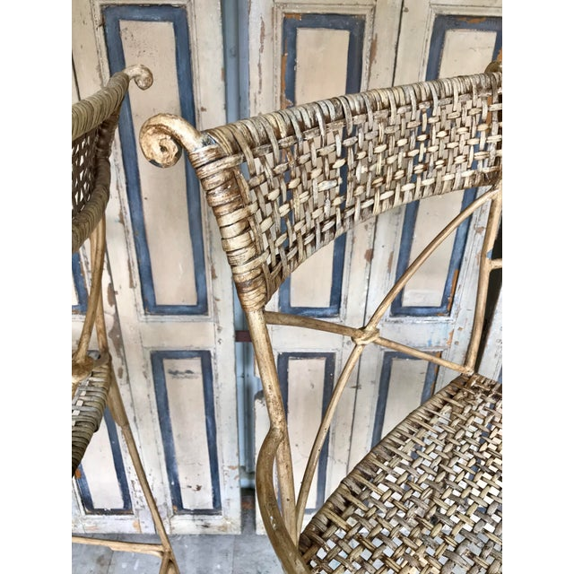 Tan Neoclassical Styled Metal Bar Stools, Pair For Sale - Image 8 of 13