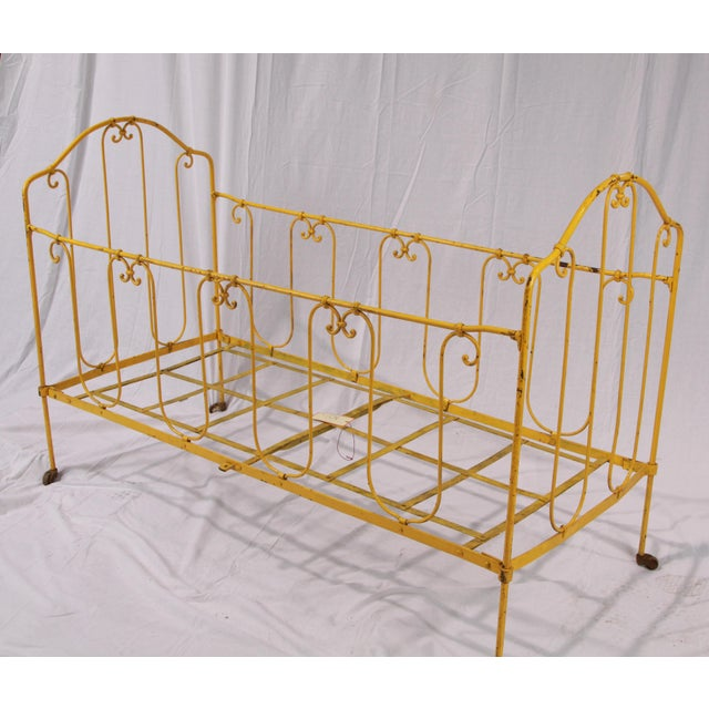 French Vintage French Yellow Daybed For Sale - Image 3 of 8