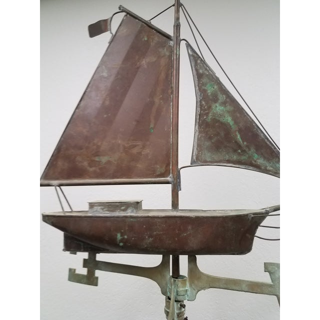 English Antique Copper Boat Weathervane For Sale - Image 3 of 13