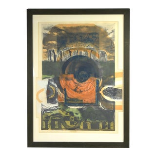 Vintage Mid-Century Modern Stone Henge Abstract Lithograph For Sale