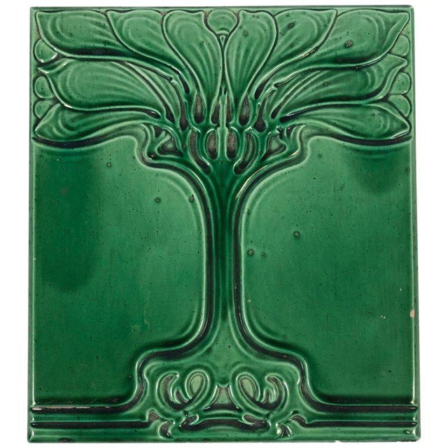 Art Nouveau Emerald Green Glazed Tree Ceramic Tile For Sale - Image 11 of 11