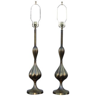 1950s Patinated Brass Stiffel Table Lamps For Sale