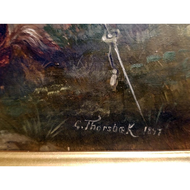 1897 Franco Prussian War Oil Painting on Board by G. Thorsbaek For Sale - Image 4 of 8