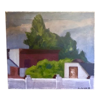 Mid Century Painting - Behind the Wall in Brooklyn- Signed, 1977 For Sale