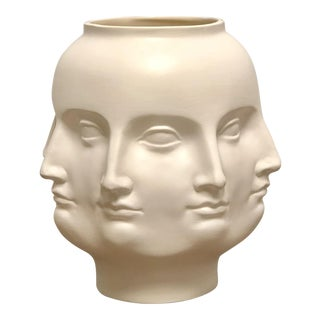 Perpetual Face Dora Maar Style White Ceramic Urn For Sale
