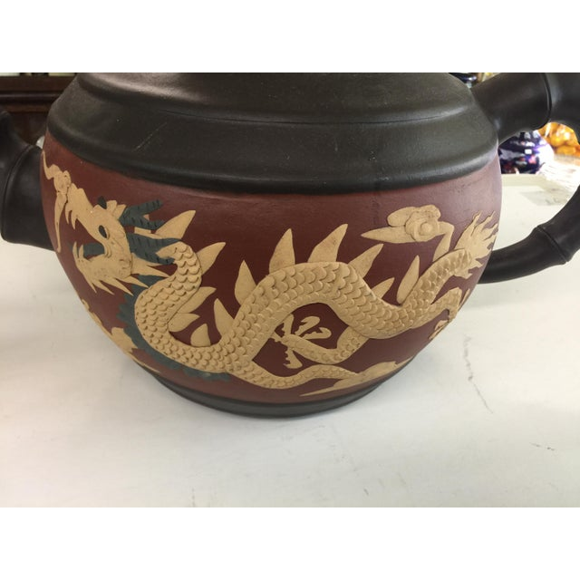 Huge Yixing Chinese Teapot Dragon & Phoenix For Sale - Image 4 of 8