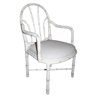 Pair of French Faux Bamboo Armchairs For Sale