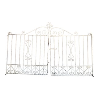 1920s Spanish White Iron Driveway Gates - Set of 2 For Sale