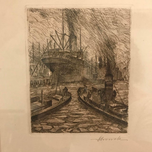 A very strong nautical etching signed in the lower right. Very detailed and very well executed. Signature is hard to make...