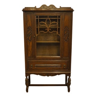 Bowers Brothers Co. Bloomington, Indiana Solid Oak English Revival Jacobean Style Cabinet For Sale