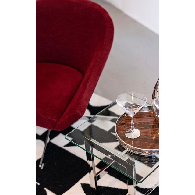 Timeless bar or serving tray combines a pierced openwork Sheffield silverplate gallery rim with rosewood formica,...