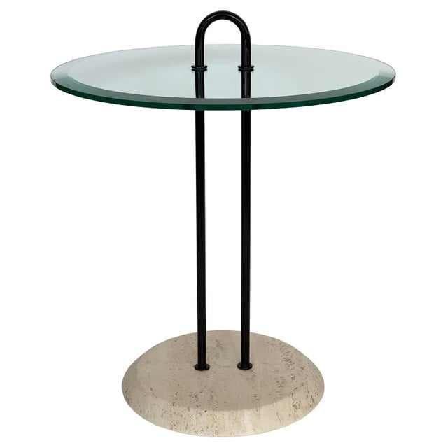 Vico Magistretti Travertine and Glass Side Table for Cattelan Italia For Sale - Image 13 of 13