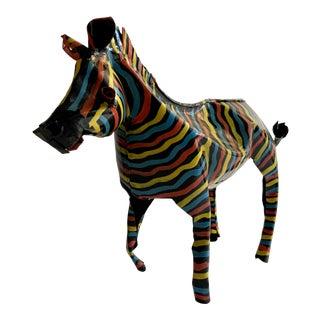 1980s Vintage Folk Art Painted Zebra Figure For Sale