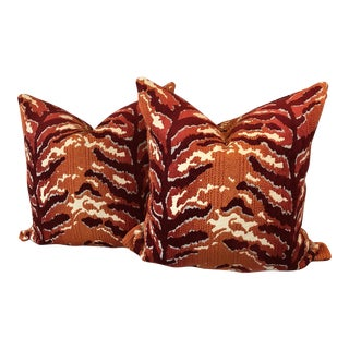 Woven Tiger Print Pillows - A Pair