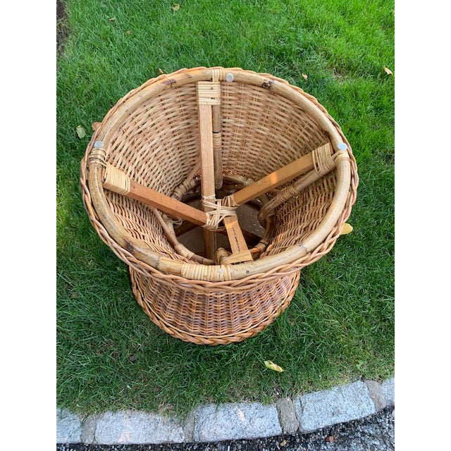 1980s Country Hourglass Shape Wicker/Rattan Side Table For Sale - Image 4 of 5