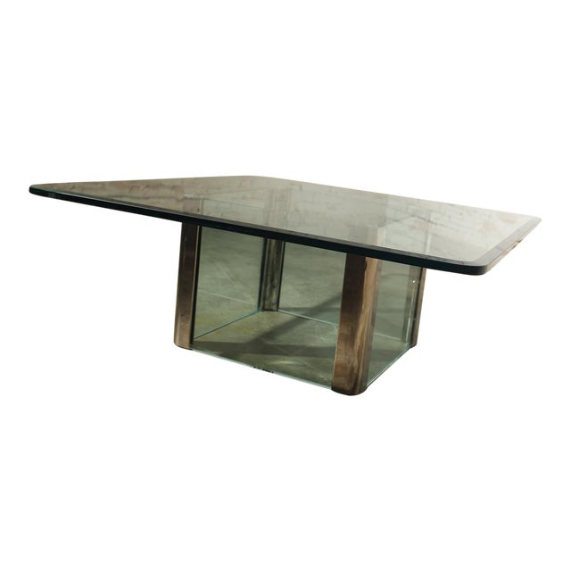Contemporary Pace Collection Chrome & Glass Square Coffee Table For Sale - Image 3 of 11