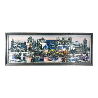 1990s Panoramic Paris Cityscape Along Seine Oil on Canvas Painting, Framed For Sale