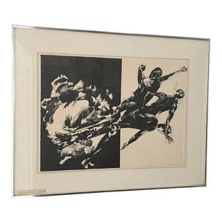 Jacob Landau Man's End Lithograph, Framed For Sale