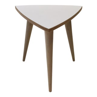 White Laminate Guitar Pick Shaped Side Table For Sale