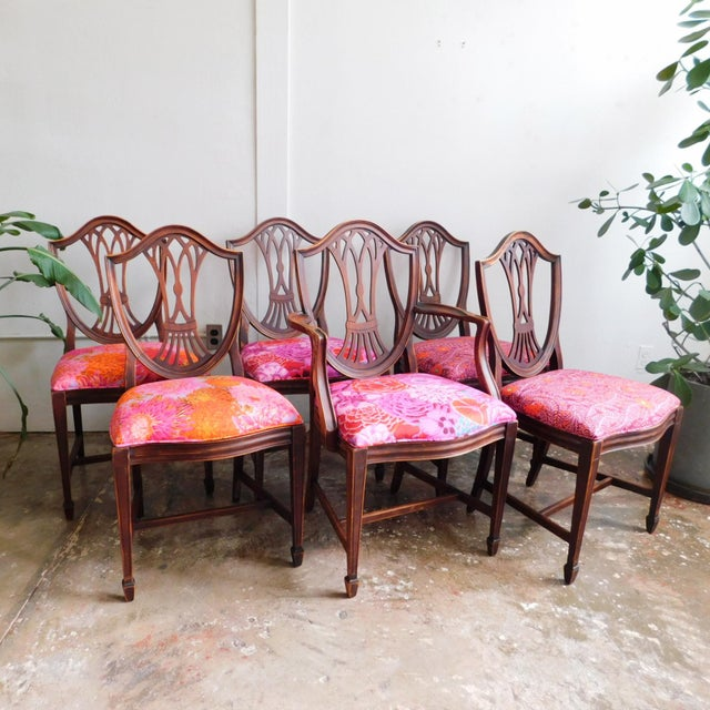 1950s 1950s Kaffe Print Dining Chairs - Set of 6 For Sale - Image 5 of 5