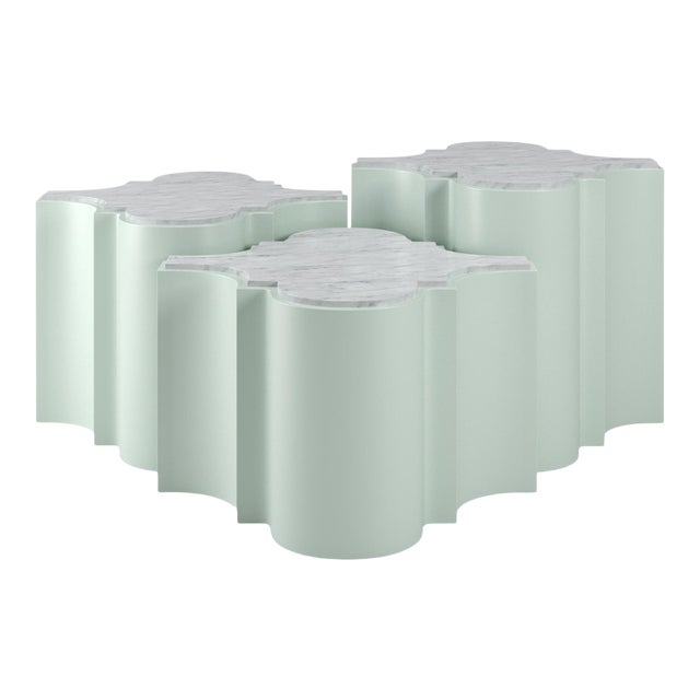 Sofia Nesting Tables, Set of 3 - Turquoise Mist For Sale