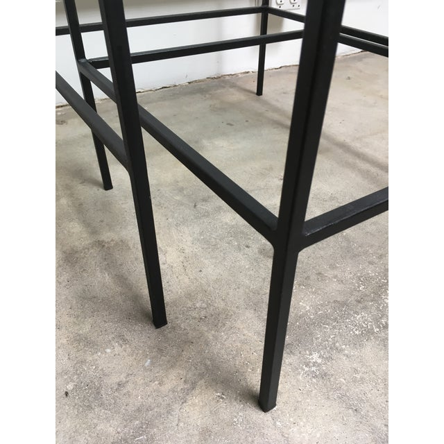 1950s Mid Century Modern Black Iron Frame & Glass Top Nesting Tables - 2 Pieces For Sale - Image 12 of 13