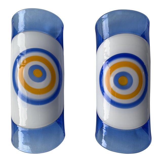 1970s Vintage Gianmaria Potenza for La Murrina Italian Murano Art Glass Wall Sconces- A Pair For Sale
