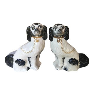 Vintage Hand Painted Staffordshire Black and White Spaniels - a Pair For Sale