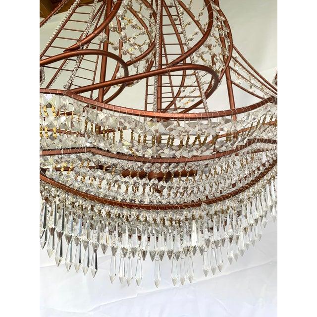 Hollywood Regency Rose Gold and Crystal Ship Chandelier For Sale - Image 3 of 7