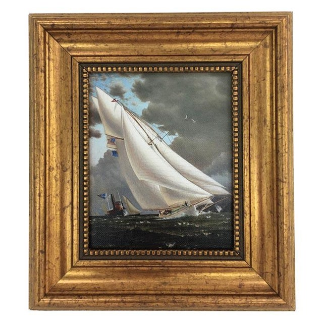 Nautical Framed Petite Sailing Ship Painting For Sale - Image 3 of 4