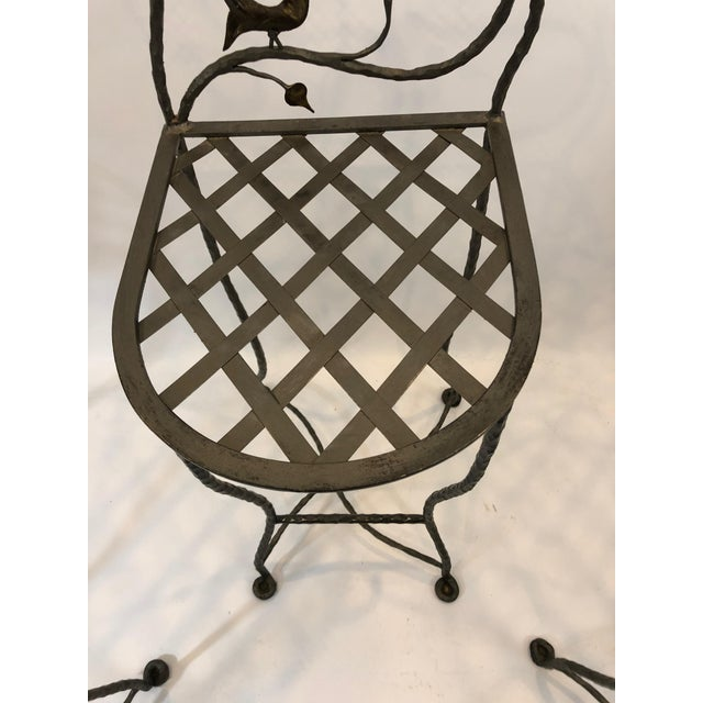 Metal 1980s Vintage Giacometti Style Whimsical Hand Forged Iron Counter Stools - Set of 5 For Sale - Image 7 of 11