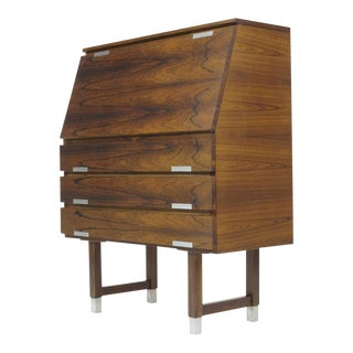 Kai Kristiansen Rosewood Secretary With Aluminum Inlaid Pulls For Sale