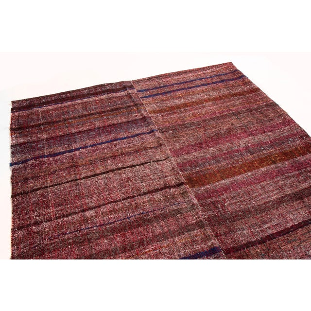 Contemporary Vintage Mid-Century Striped Wool Kilim Rug - 5′6″ × 8′11″ For Sale - Image 3 of 6